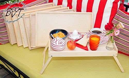 Brotzeit- und Picknickbretter 7 Stk. massives und hochwertiges, klappbares Holztablett, Buche - SPÜLMASCHINENFEST '*' - Beistelltisch, natur, Knietisch mit zwei Tragegriffen, Maße viereckig, 35 cm x 50 cm x 20 cm, nutzbar als Frühstückstablett oder Serviertablett, Picknick Grill-Set