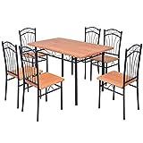 Festnight 7-tlg. Essgruppe Set inkl. 1 Tisch und 6 Stühlen Esstisch Essstuhl Küchen Sitzgruppe Esszimmergarnitur für Esszimmer oder Küche - Braun und Schwarz