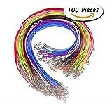 Liuer 100 Pezzi 1.5 millimetri intrecciati corda cerata collana corda con corda catena di estensione e chiusura aragosta per Fabbricazione di Gioielli fai da te,in un mix di colori per Amanti Del Fai da te Bracciali
