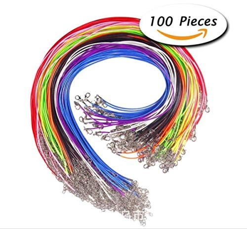 Liuer 100 Stück Damen und Herren Halskette Schnüre Kette mit Karabinerverschluss Verlängerungskette für DIY Schmuckherstellung,1.5mm Geflochtene Gewachste Halskette Schnur Bulk,18 Zoll,10 Farben - Perle-perlen-halsketten-bulk