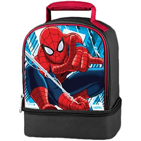 Thermos Marvel SpiderMan Series Double Compartment Soft Insulated Lunch Bag with Image of Swinging Spider-Man (Dimension: 9-1/2 x 7 x 5) by Spider-Man