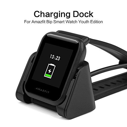 Sikai Caricabatteria Wireless per Amazfit Bip Bit Pace Lite Youth Sostituzione USB Cavo di Ricarica Caricabatteria Dock Ricarica Stand Adattatore per Xiaomi Mi Amazfit Bip Smartwatch (Nero)