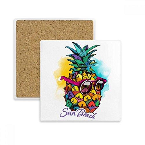 Sonnenbrille Ananas tropische Stil Fruit quadratisch Untersetzer Cup Becher Halter saugfähig Stein für Getränke 2Geschenk