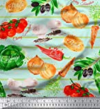 Soimoi Grun Baumwoll-Voile Stoff Streifen und gemischtes
