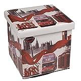 Hossi's Wholsale Hochwertiger Sitzhocker London rot Sitzwürfel Aufbewahrungsbox 38 x 38 x 38cm inkl. 1 Rolle 16l Abfallbeutel