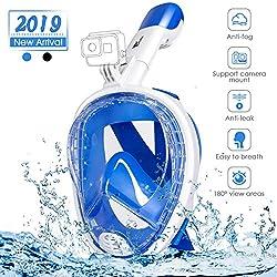 amzdeal Masque de Plongée Masque Snorkeling Full Face 180 ° Vue Panoramique Anti-buée et Anti-Fuite Set avec Sangles Réglables Tube de Plongée Plus Long pour Adultes et Enfants (Bleu)