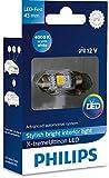 Philips 129454000KX1 X-tremeUltinon LED luz interior para coche C5W 43mm Festoon 4000K 12V, 1 unidad