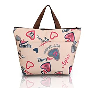 Pixnor Portable Loving Heart Pattern Lunchbox Bag Lunch Tote Insulated Cooler Bag Carry Bag for Travel / Picnic One Direction Vertical Lunch Bag
