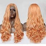 QD-Tizer Perücke, natürliches Orange, Lace-Front, für Damen, lang, gewellt, klebefrei, Kunsthaar, halb von Hand gebunden