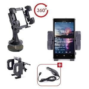 Support Voiture 3 en 1 pour téléphone portable / smartphone Nokia Lumia 925 - grille d'aération, pare-brise & tableau de bord - Chargeur allume-cigare BONUS