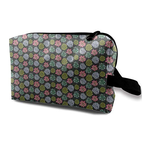 Succulent Circles Fabric Makeup Storage Bags Organizer Clutch Pouch For Women Digital Backpack Kit