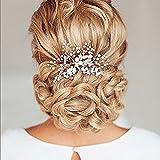 Aukmla - Pettine per capelli, acconciatura da sposa, accessorio per capelli per donne e ragazze con perle e strass, colore: oro