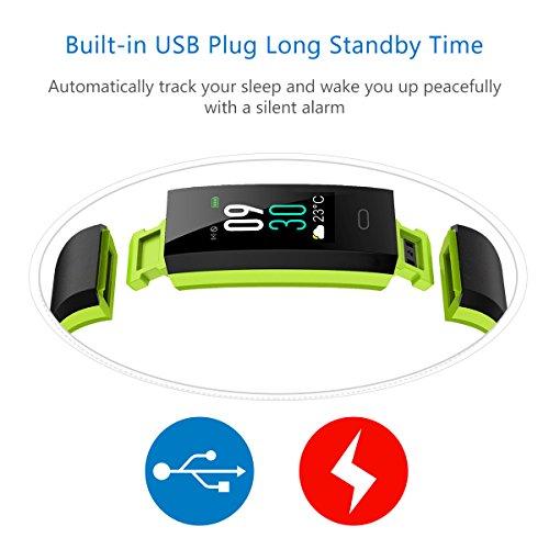 Muzili Fitness Armband YG3C Aktivitätstracker Herzfrequenzmonitor Farbdisplay IP68 Wasserdicht Fitness Tracker mit Schrittzähler Schlafmonitor Kalorienzähler für Kinder Damen Herrn(Black Green) - 6