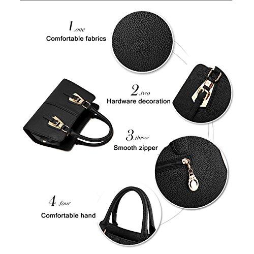 WU ZHI Damen PU Schalen Messenger Bag Große Kapazitäten Multifunktions Handtaschen Handtaschen Black
