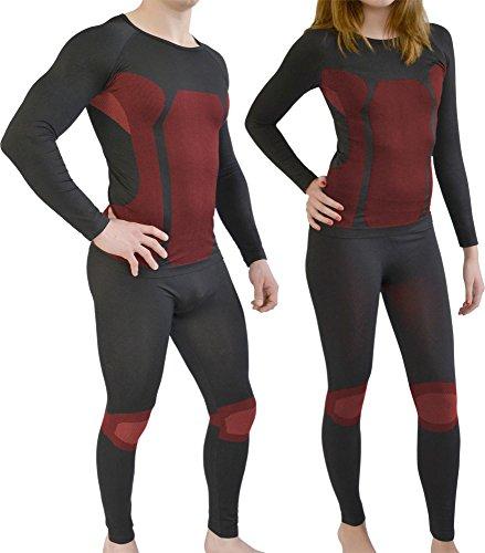 normani Sport Funktionswäsche Garnitur (Hose + Hemd) für Damen und Herren - Ski Unterwäsche mit Elasthan Farbe Rot Größe S/M