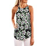 """Toamen Clearance Newest Women's Casual Valueweight Tops, Womens Sexy Fashion Floral Printed O-Neck Sleeveless Loose Vest Shirt Tops Blouse (Green 2, Size S/Bust 35.4"""")"""