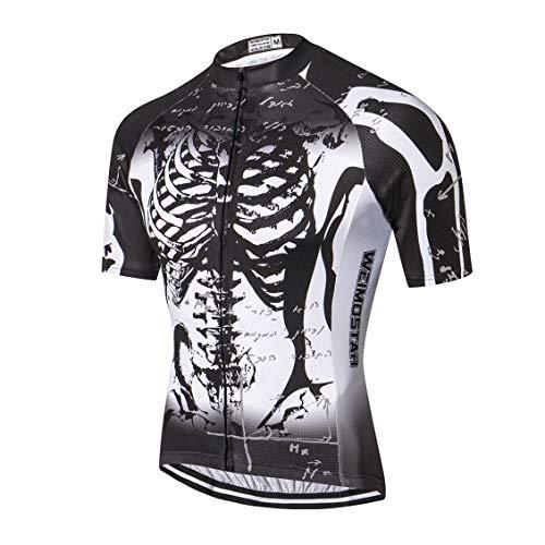 Shenshan Radtrikot Herren MTB Jersey Kurzarm Bike Jersey Zip Mountain Road Kleidung Fahrrad-Oberteile Atmungsaktiv Sommer Pro Team Rennrad Trikot für Herren Schwarz Größe L