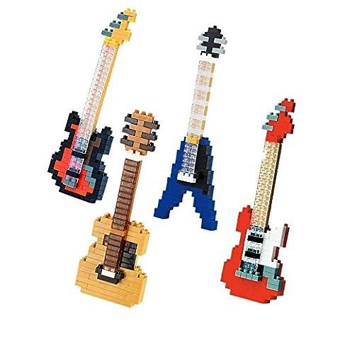 SainSmart Jr. 4 Pack Diamond Blocks, Blue Red Electric Guitar Bass Guitar Acoustic Guitar, Musical Instrument, Compatible Nano Block, DIY Micro Bricks Toys