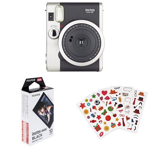 Fujifilm - Instax Mini 90 NEO Classic - Appareil Photo à Impression Instantanée - Noir + Lot de 110 autocollants + Color Frame - Photo Appareil
