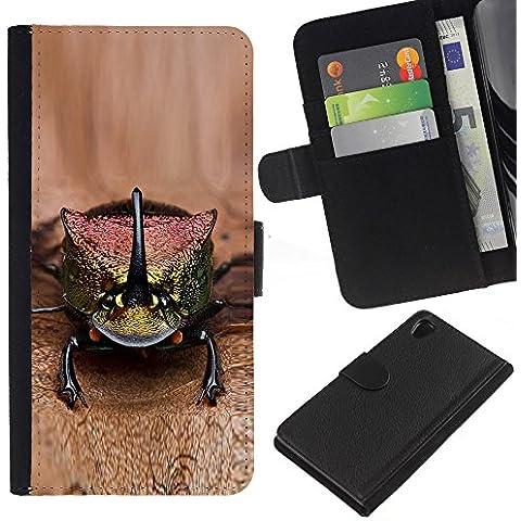 Leather Etui en cuir || Sony Xperia Z2 D6502 || gecko lagarto marrón animales exóticos @XPTECH