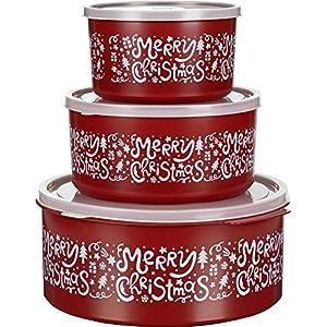 Kigima contenitori di biscotti set di 3 rotondo 1,5l/2,5l/5l rosso disegno Merry Christmas