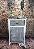 Livitat® Nachttisch Nachtschrank Kommode Used Landhaus Shabby Vintage Weiß Grau LV1052 (Weiß Grau TALI)