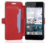 Cadorabo Hülle für Huawei ASCEND G520 / G525 - Hülle in ICY ROT – Handyhülle mit Standfunktion und Kartenfach im Ultra Slim Design - Case Cover Schutzhülle Etui Tasche Book