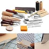 Rokoo 25 Stück / Set Heftung Carving Arbeiten DIY Hand Nähen Sattel Groover Punch Werkzeuge Leder Handwerk Sets