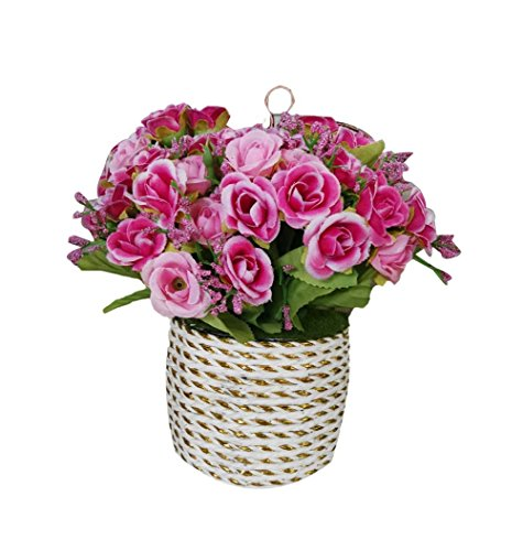 Hanging Basket Simulation Flowers Handmade Roses Artificial Flowers by Blancho