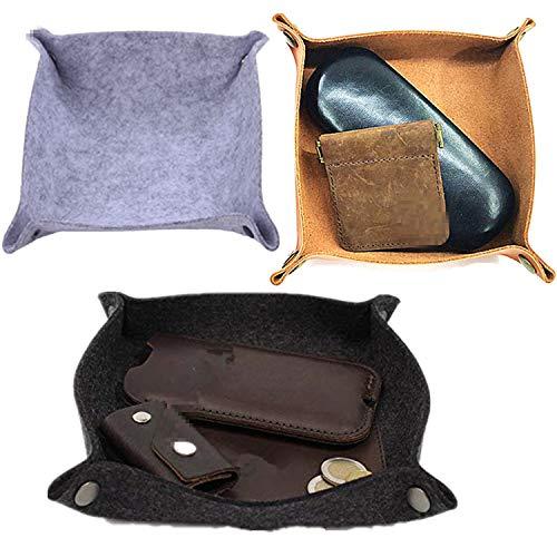 PPX Filet und Leder Münze Valet Tablett Nacht Aufbewahrungskorb Box für Schmuck,Schlüssel, Handy, Geldbörse - Entfaltet für Untersetzer, Tasse und Tassenmatte, Mousepad- schwarz,braun,grau (3 Stck)