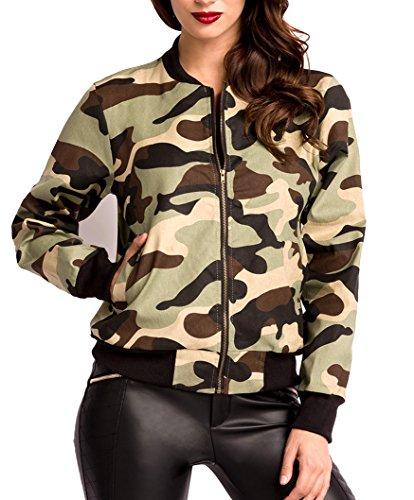 Tarn-farbene kurze Damen Jacke mit Rippbündchen Reißverschluss vorn Leistentaschen vorn Camouflage XL