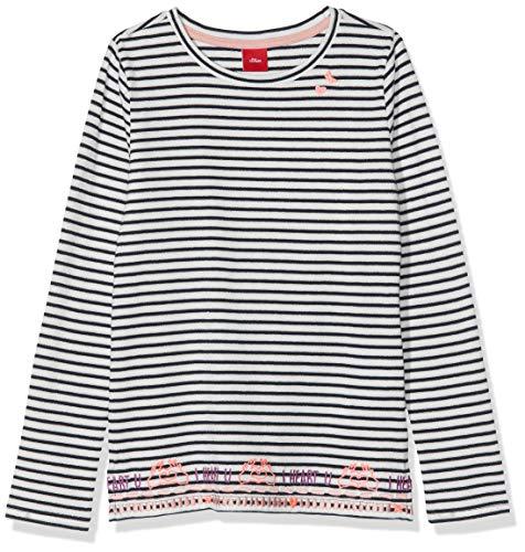 s.Oliver Mädchen 53.908.31.8763 T-Shirt, Blau (Dark Blue Knitted Spripes 59g0), 128 (Herstellergröße: 128/134/REG)