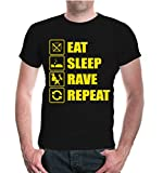 buXsbaum T-Shirt Eat Sleep Rave Repeat-L-Black-Sunflower
