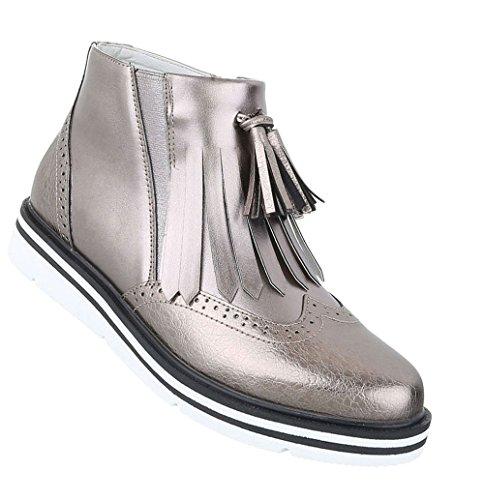 Schuhcity24 Damen Schuhe 16910 Stiefeletten Silber Grau 39