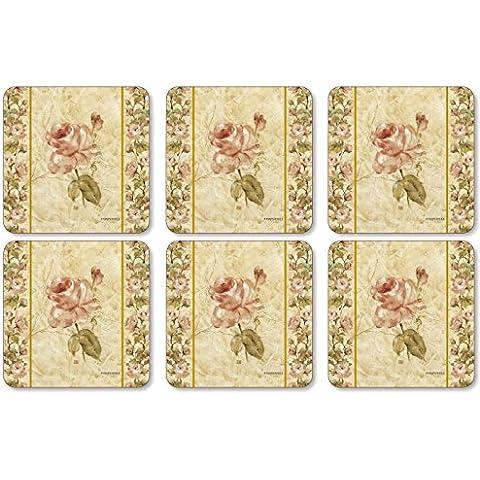 Pimpernel Antique Rose Linen Coasters - Set of 6