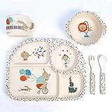 Ensemble de vaisselle en bambou, 5 pièces ~ Animaux du cirque