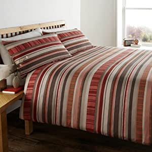 Zinnia Abstract Striped Duvet/Quilt Cover Set, King Size, Terracotta Spice