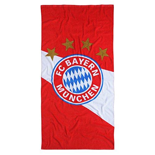 """FC Bayern München Duschtuch Strandtuch """"Diagonal"""" Farbe rot/weiß Größe 75 x 150 cm"""