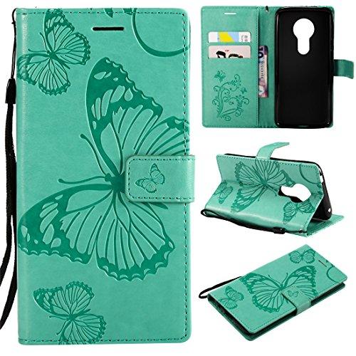 Hozor Motorola Moto E5 Handyhülle, Retro Großer Schmetterling Muster PU Kunstleder Ledercase Brieftasche Kartenfächer Schutzhülle mit Standfunktion Magnetverschluss Flip Cover Tasche, Grün