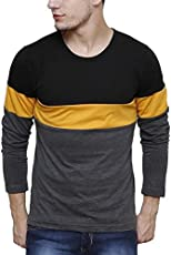 Urbano Fashion Men's Black, Grey, Yellow Round Neck Full Sleeve T-Shirt