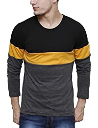Urbano Fashion Men's Black, Grey, Yellow Round Neck Full Sleeve T-Shirt