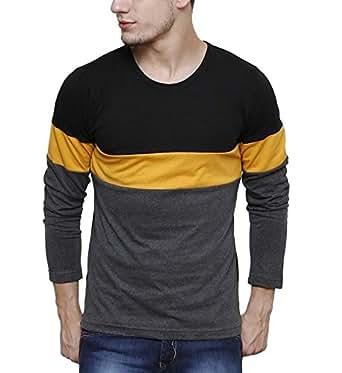 Urbano Fashion Men's Striped Slim Fit T-Shirt (cns-rnd-blayel-s)