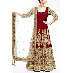 Gstuffvilla Woman's Banglori Silk Salwar Suit (Salwar Kameez)(Maroon_Free Size) (GSV5017)