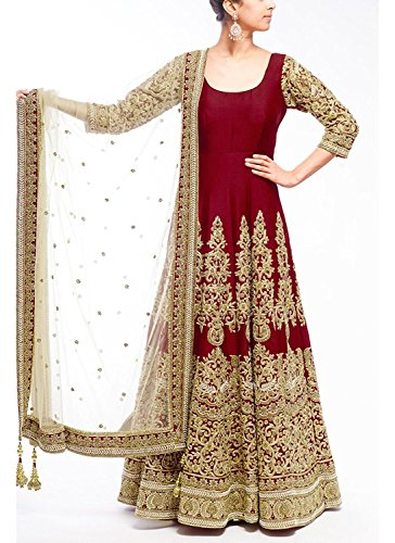 Market Magic World Women\'s Maroon Benglory Silk Anarkali Unstitched Free Size XXL Salwar Suits Sets Dress Material (Indain Clothing New Dresses)