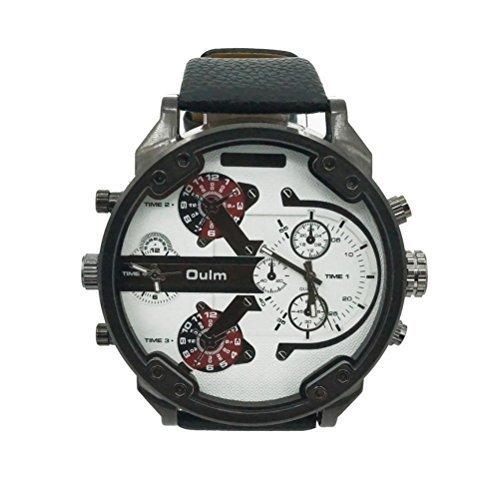 Chicos grande redondo PIXNOR Oulm 3548 hombres marcar cuatro tiempo pantalla reloj de pulsera de cuarzo con banda PU (blanco)