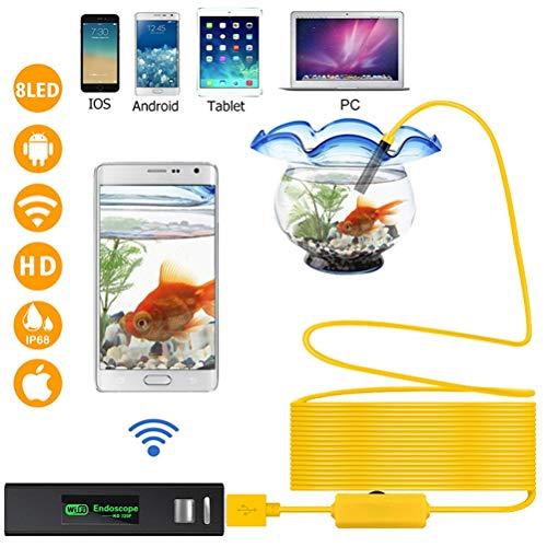 OD-B 1200P Wireless Inspektionskamera 2,0-MP-HD-Endoskopkamera wasserdichte Rohrschlangenkamera Mit 8 LED-Leuchten Für Ios Android PC,10M