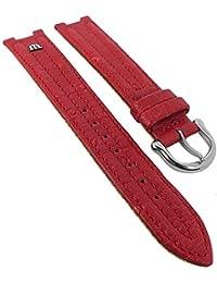 Maurice Lacroix für Calypso/Scala | Ersatzband Uhrenarmband Straußenleder rot matt 30035, Stegbreite:14mm, Schließe:Silbern