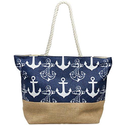 db703d760cdb5 CASPAR TS1034 große maritime Damen Strandtasche Shopper mit ANKER Muster  Reißverschluss und Jute Boden