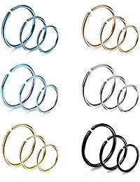 Yadoca 18Pcs 20G 316L Stainless Steel Nose Ring Hoop Cartilage Hoop Septum Piercing 6-12mm