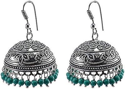 Indio pendientes jhumka con colgante tratada turquesa cuentas Danglers Jhumki earring-silvesto India pg-32215